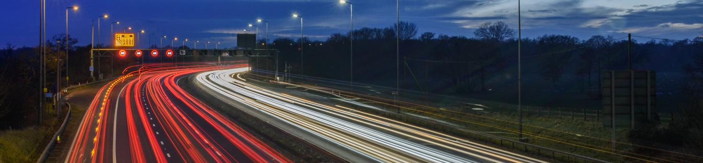 The M42 motorway in Warwickshire at night