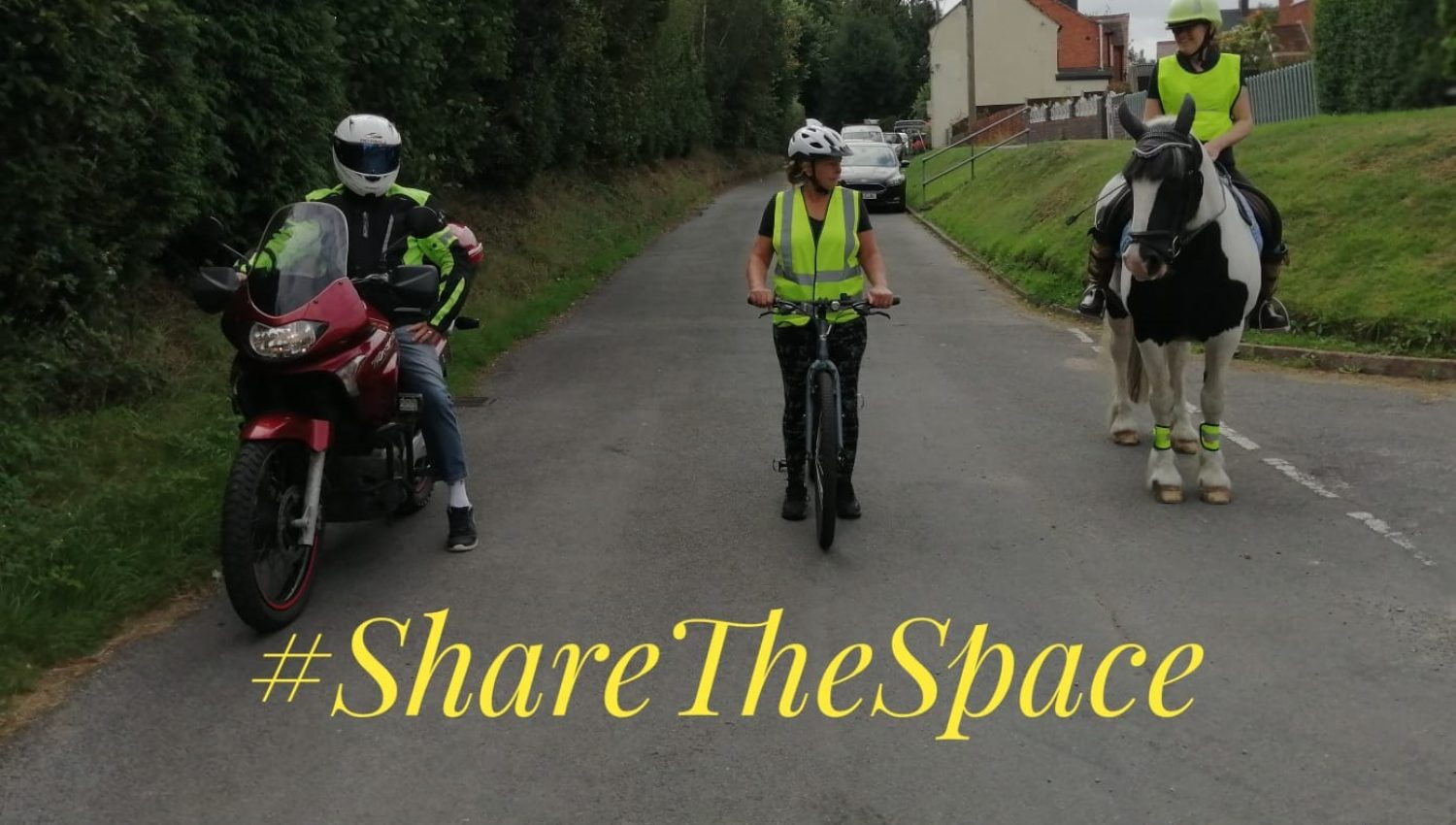 share the space photo motorcyclist cyclist and horse rider